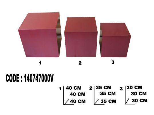 CUBO 5 FACCE SHINE VIOLA TRIS CM 40X40-35X35-30X30