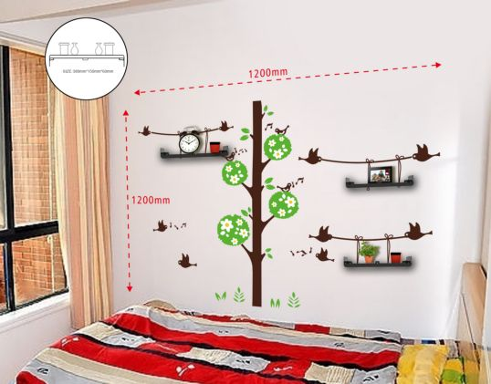 STICKER DA MURO BIRDS AND TREE CON MENSOLE CM 120X120