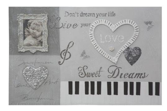 DIPINTO SU TELA PIANO CM 90X2,5X60