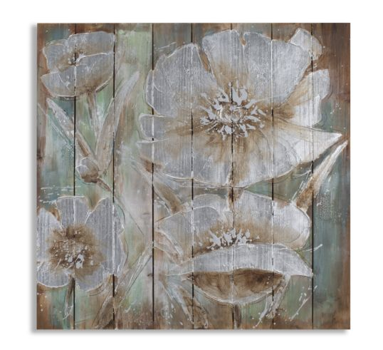 DIPINTO SU LEGNO TIME OF FLOWERS CM 80X4X80