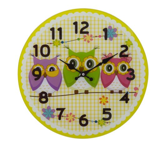 OROLOGIO IN VETRO OWLS FRIENDS -A- CM Ø 38X4 MIN 3